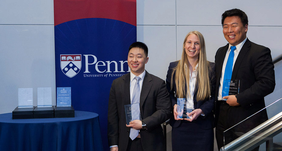 Y-Prize 2013 winners (r-l) Andy Wu, Kelsey Duncombe-Smith, and Richard Zhang. Photo by Lamont Abrams.