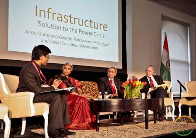 Saikat Chaudhuri moderates a panel at WIEF 2014.