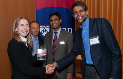 Prizewinner Emily Plumb with professors David Hsu and Saikat Chaudhuri of the Wharton School and Vijay Kumar of the School of Engineering and Applied Science.