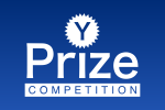 y-prize-logo white Blue Background wide